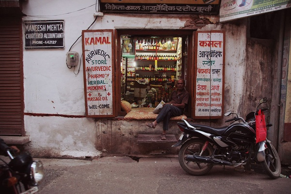 The streets of Bundi, India are filled with sleepy scenes like this one.