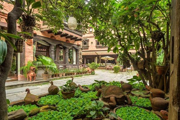 Dwarska's Hotel courtyard in Kathmandu, Nepal