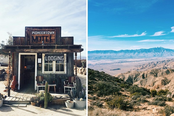 Pioneer town Motel and Joshua Tree, California