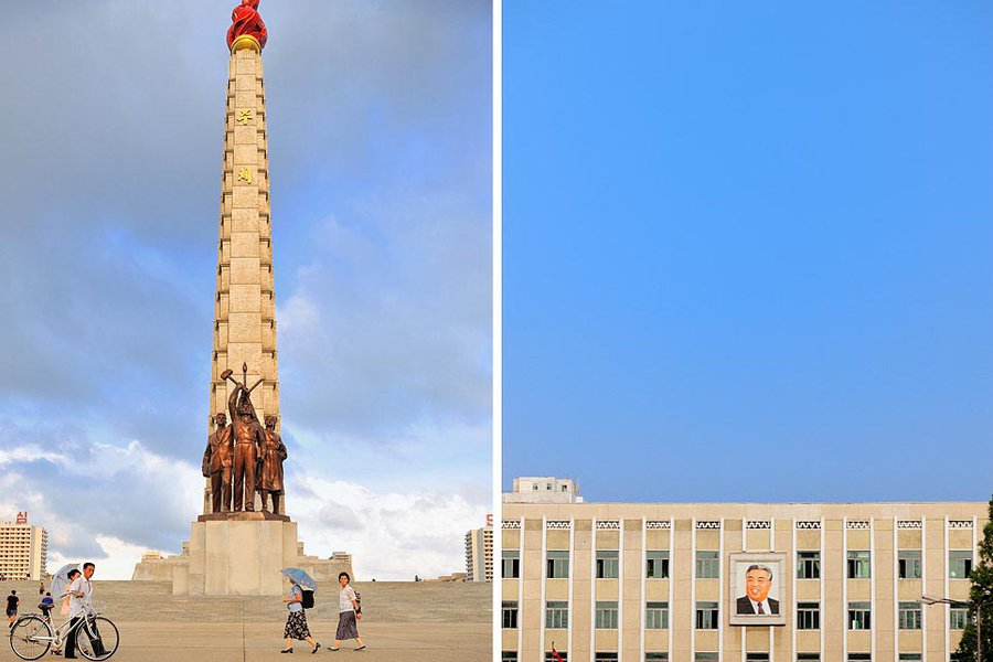 Tower of Juche and Kim Il-Sung Mural
