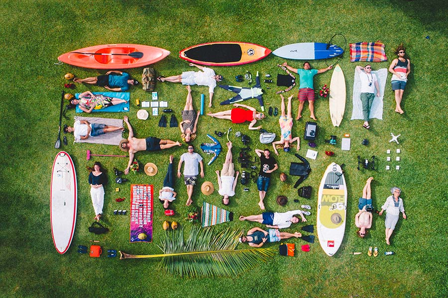 Overhead group photograph in Tahiti, French Polynesia - Saltywings