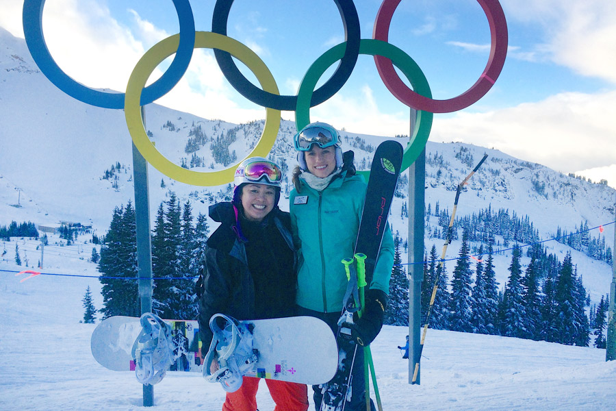 Julia Murray ski with Olympian