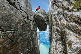 Atop the Kjeragbolten boulder in Norway