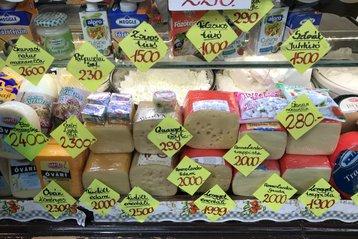 Cheese stall in Lehel Market, Budapest, Hungary
