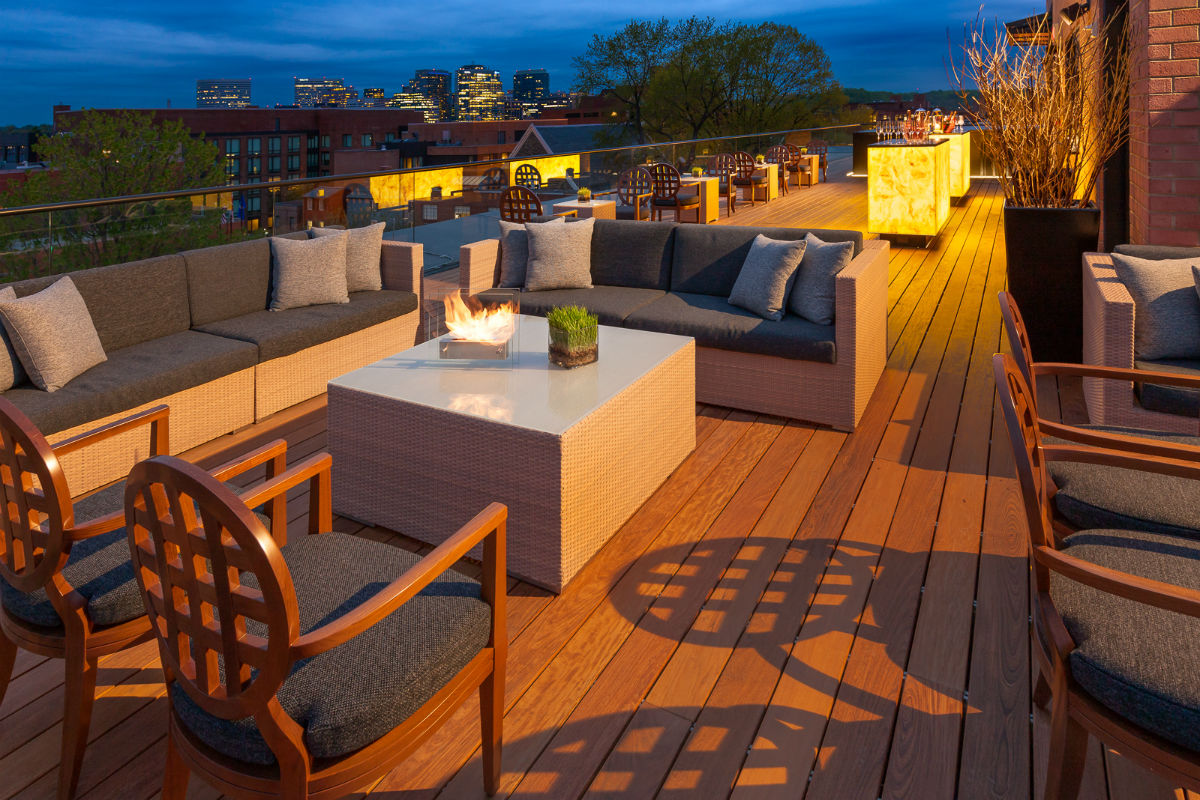 The rooftop lounge at the Capella Hotel