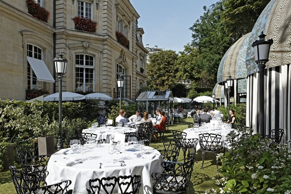 The outdoor terrace at the Saint James Paris.