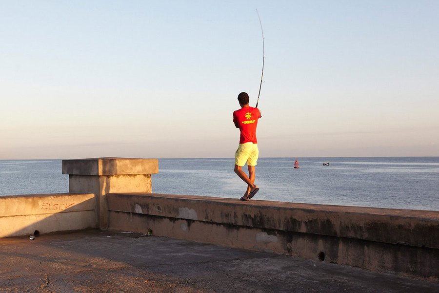 Early Morning Fisherman on the Malecon in Havana
