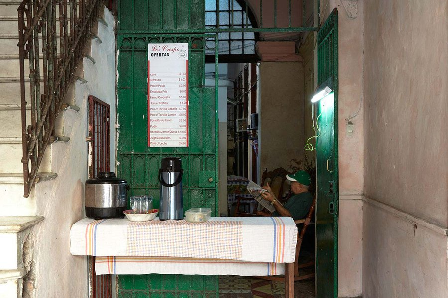 A Coffee Stand in a Hallway in Havana