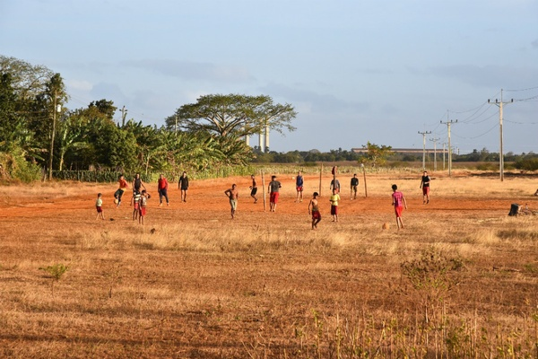 Cuban kids playing soccer
