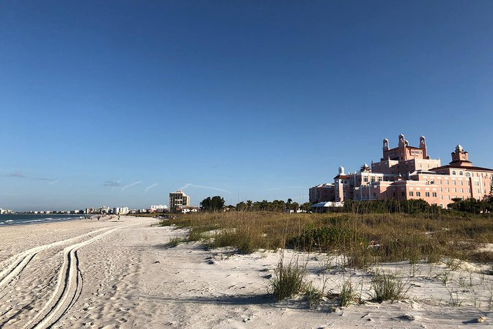 St Pete beach with Don CeSar Hotel in the distance.