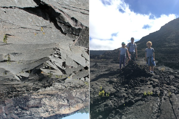 The author's family exploring the lava tubes of the Big Island.