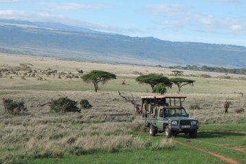 Jeep on safari tour in East Africa