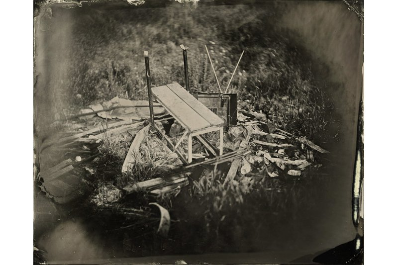 """Bench Press on a Pile."" 8 x 10 original tintype."