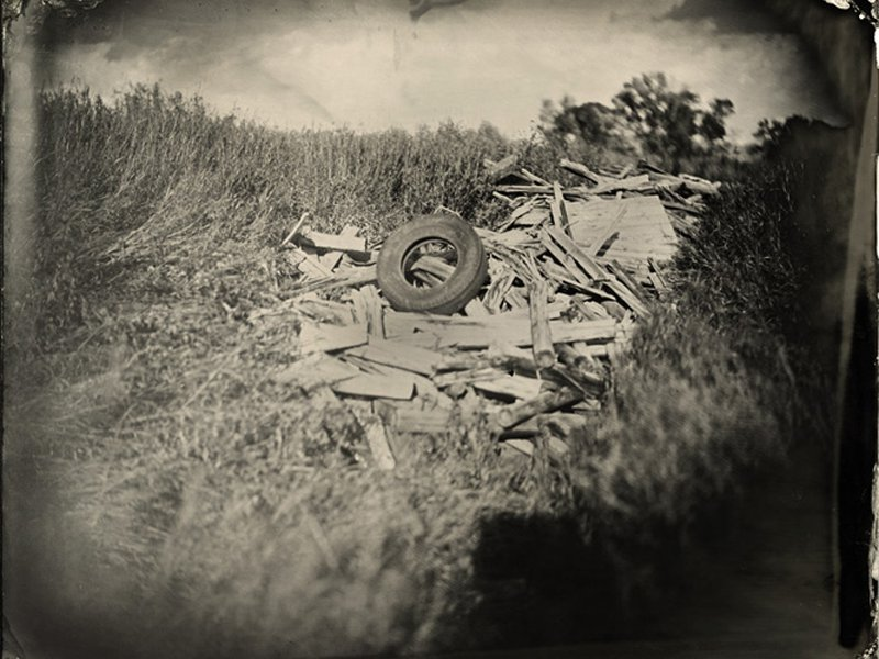 """Tire on Wood."" 8 x 10 original tintype."