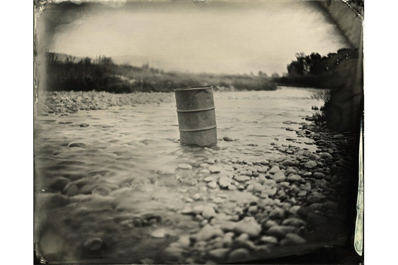 """A Barrel in the Stream."" 8 x10 original ferrotype."