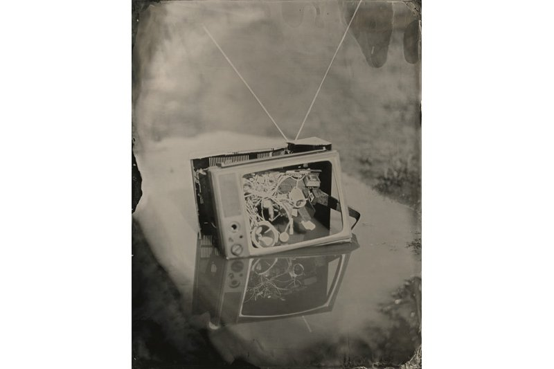 """Television in a Puddle."" 11 x 14 original ferrotype."