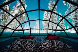 An igloo bedroom at Kakslauttanen in Lapland, Finland.