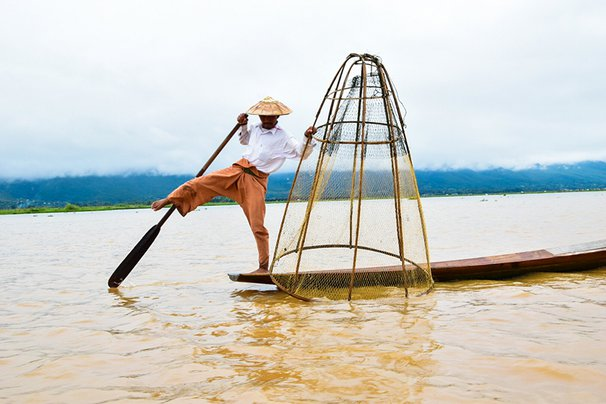 A fisherman on Inle Lake in Myanmar