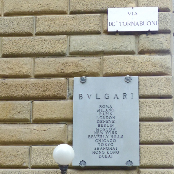 Sign on Via Tornabuoni, Florence, Italy