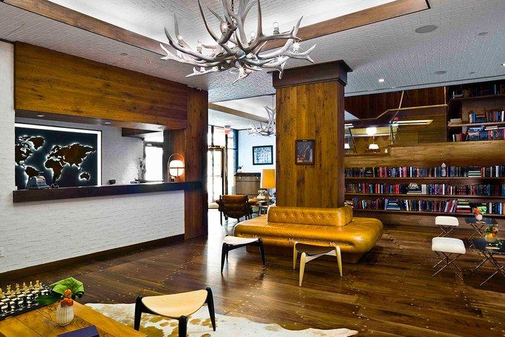 Lobby at the Gild Hall hotel NYC.
