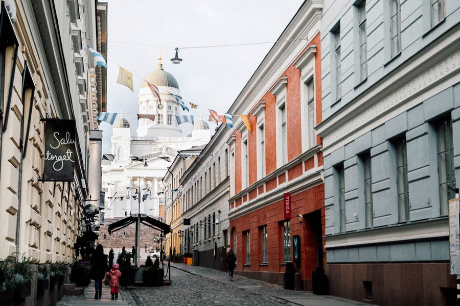 Katariinankatu or Catherine Street in old Helsinki.