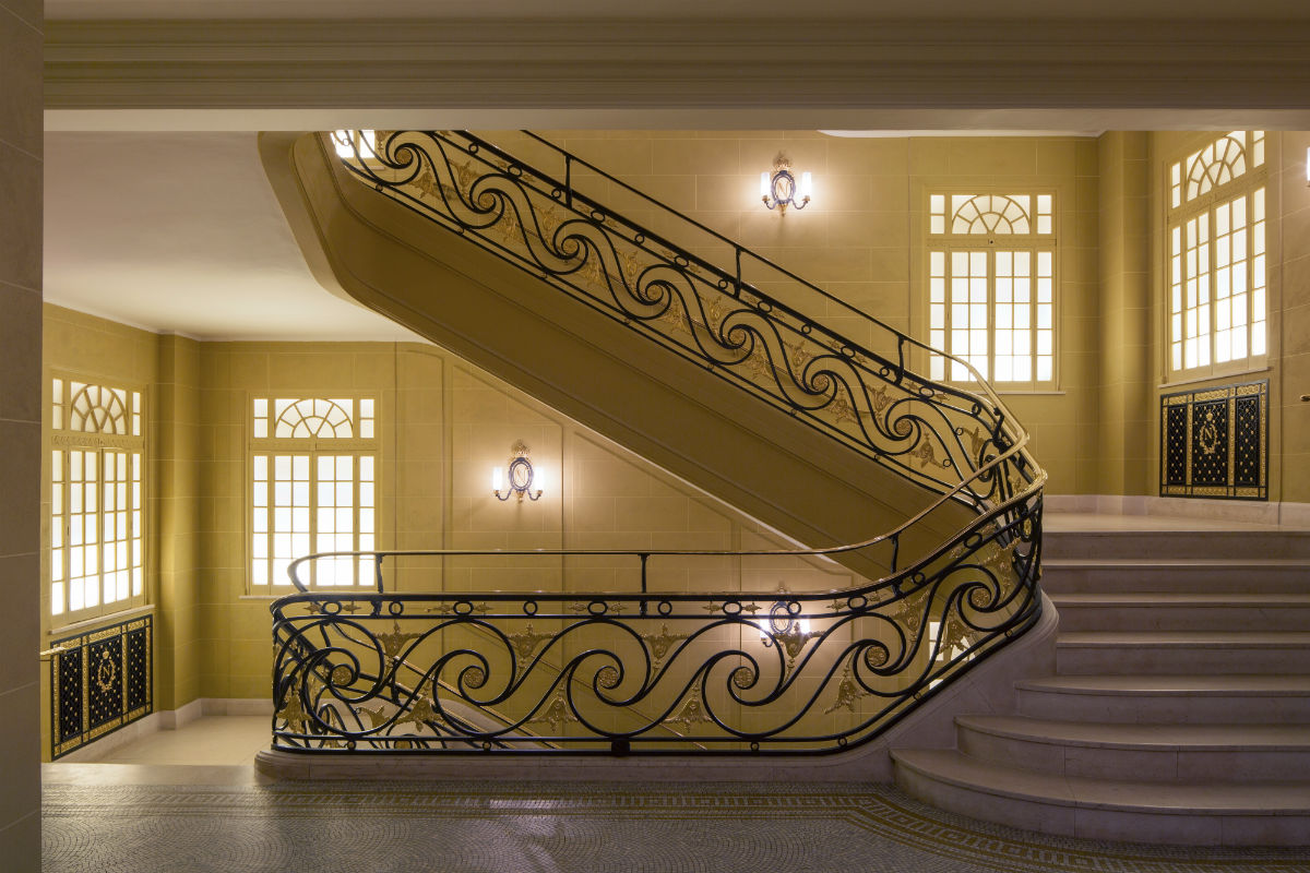 staircase at Hotel Café Royal.