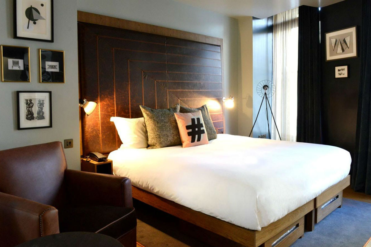 A guest room at The Hoxton Holborn.