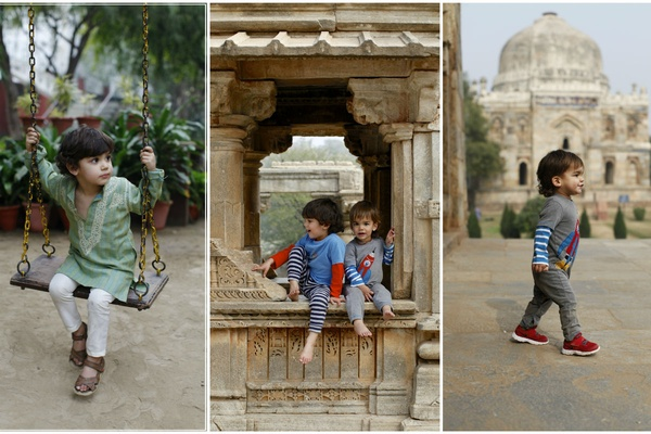Kids at historical sites in India.