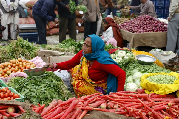 Vegetable market in India.