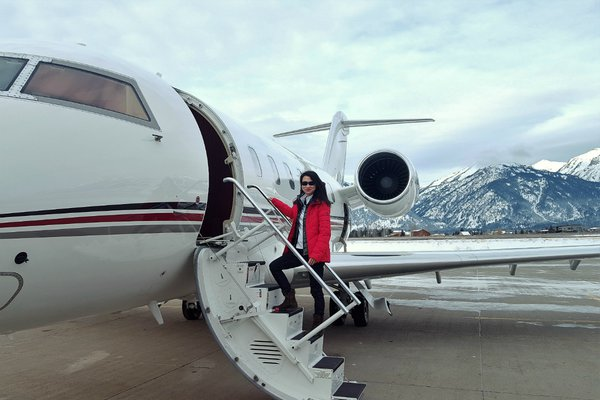 A NetJets flight in the Rocky Mountains