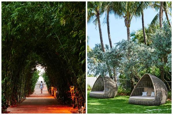 Bamboo walk and cabanas at Nautilus South Beach.