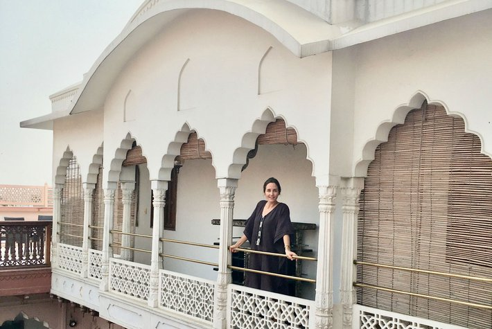 Katie McClure at Dharampura Haveli in Delhi, India
