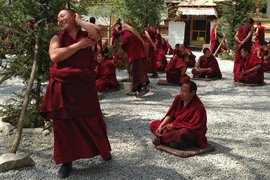 Monks debating at Sera Monastery, Lhasa, Tibet