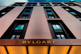 The facade of Bulgari Hotel, London, England.