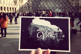 Postcard in front of the Louvre at the #FathomInstaMeet in Paris.