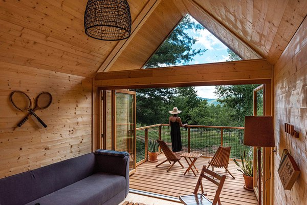 Eastwind's wooden cabin in Windham, NY.