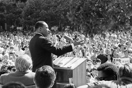 Martin Luther King Jr. giving a speech.