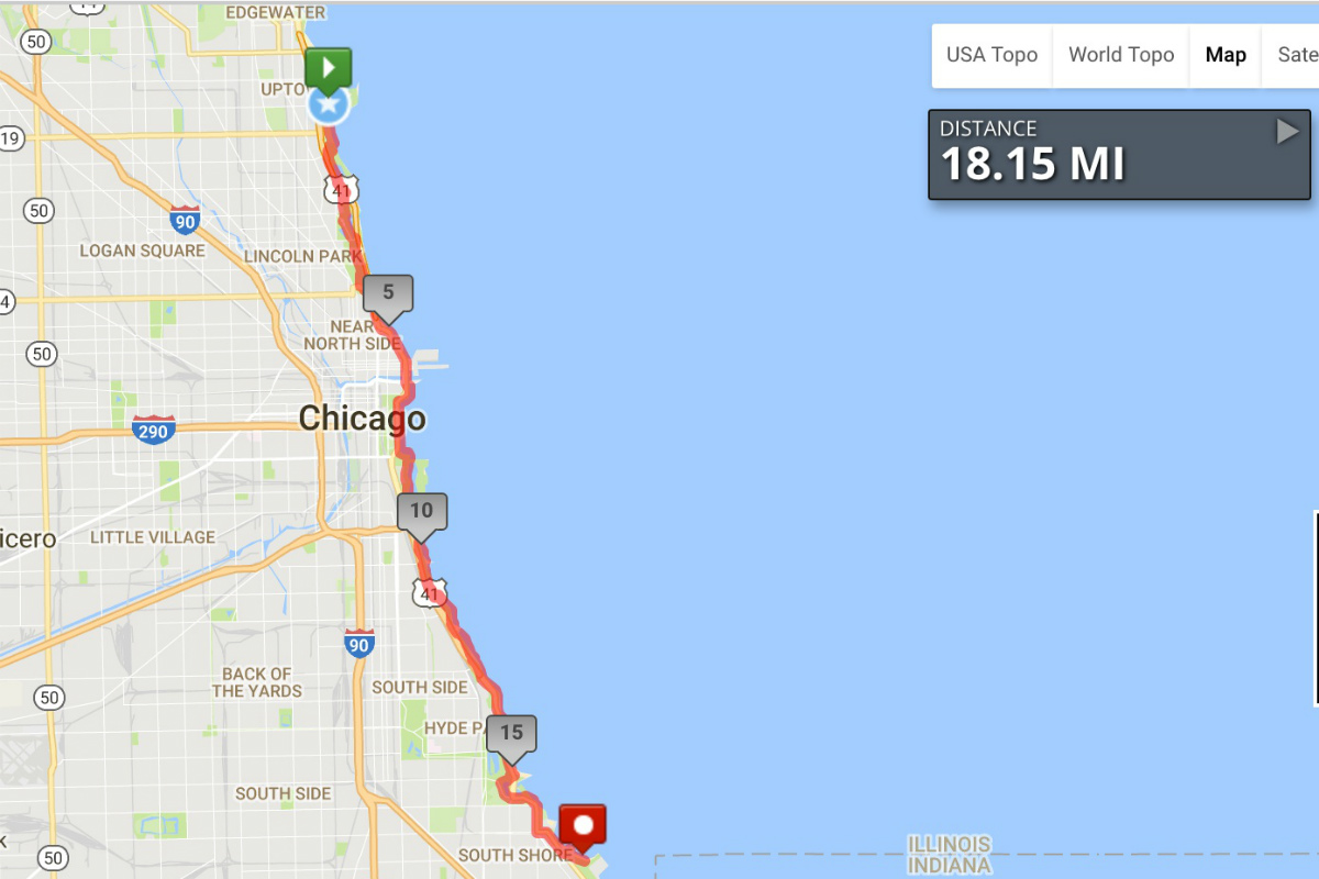 Map My Run Lakefront Trail