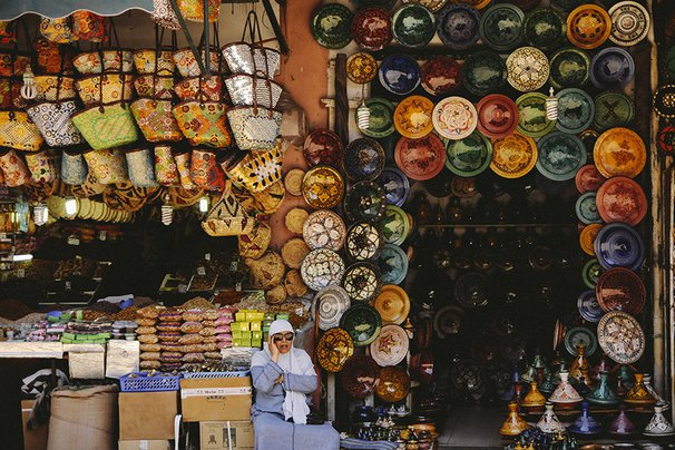 A colorful stall from the souks of Marrakech