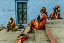 Sadhus chilling at the Ghat of Varanasi. All photos by Mehdi Hasan.