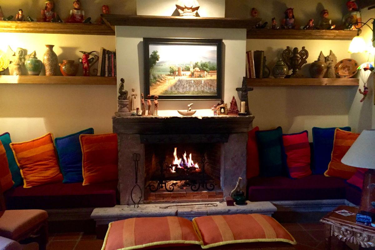 Fireplace at Villa Victoria in Patzcuaro.