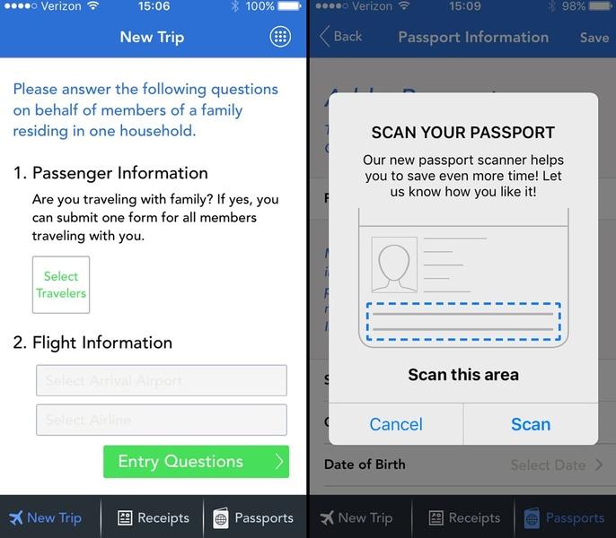 Mobile Passport app view