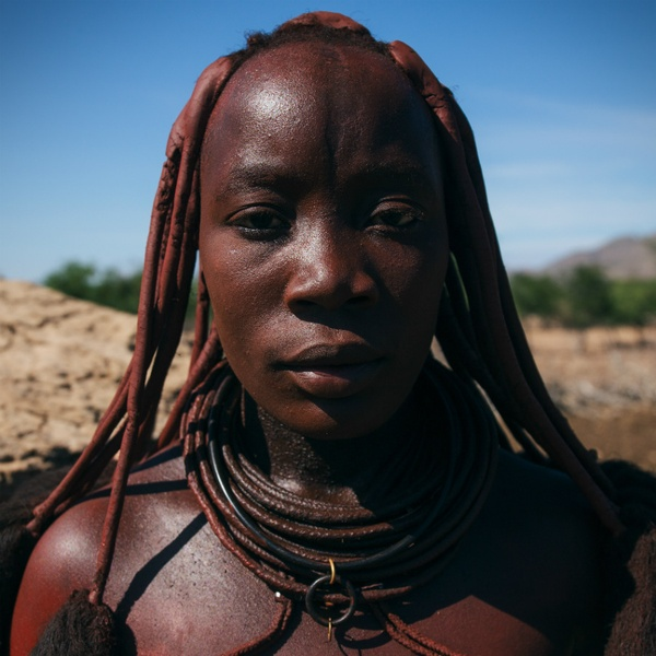 Himba woman with ochre paste, Namibia