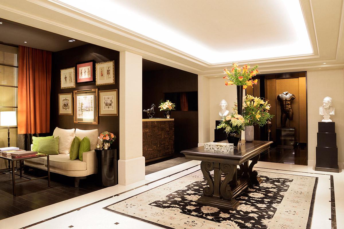 Lobby at Grand Hotel du Palais Royal, Paris, France.