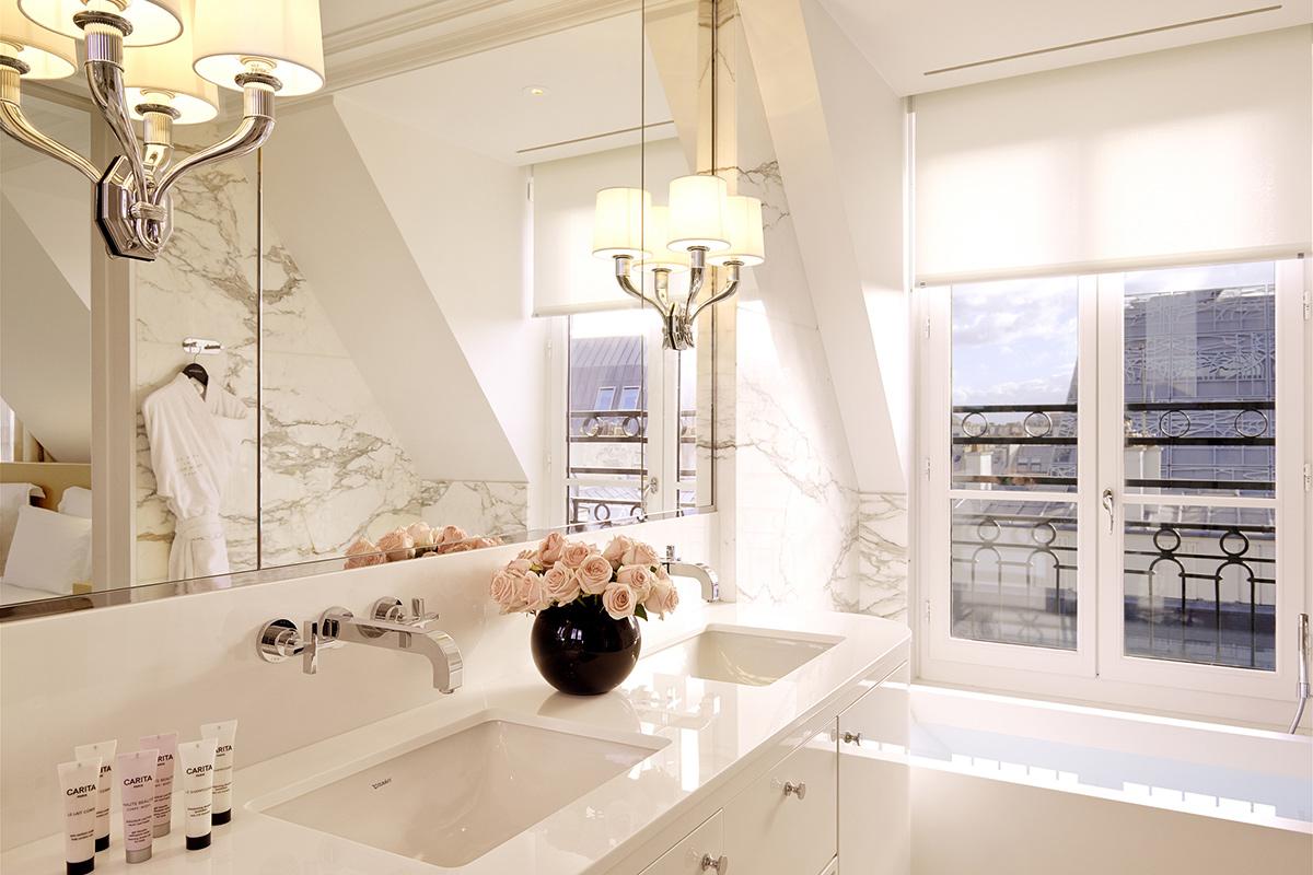 Bathroom in Panorama Suite at Grand Hotel du Palais Royal, Paris, France.