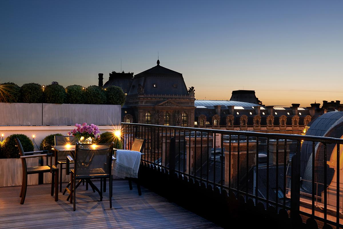 View from Panorama Suite at Grand Hotel du Palais Royal, Paris, France.