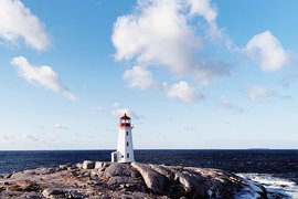 Lighthouse at Peggy's Cove, Nova Scotia. Photos by Tess Falotico.