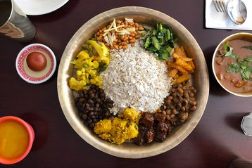 A traditional Newari thali from Woodside Cafe.