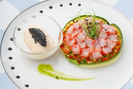 Red shrimp carpaccio with ginger gelato