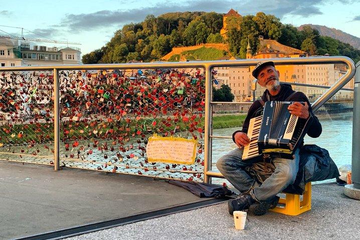 Busking on a bridge in Salzburg.